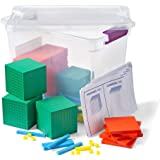 hand2mind Plastic Base Ten Blocks For Kids Ages 8-11, Base 10 Units, Rods, Flat, Cube, And Place Value Mat, Learn Place Value