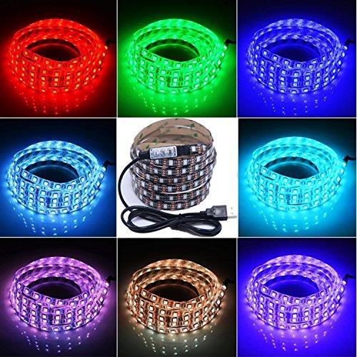 LED テープライト、LHYAN 2M LEDテレビバックライトキット、USB SMD5050 RGB LEDテープ 高輝度 高品質 防水 LEDテープライト DC/5V 両面テープ 間接照...