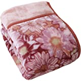 昭和西川 衿付き 2枚合わせ 毛布 シングル 140×200cm 花柄 マーガレット 2019年モデル (ピンク) 2230562850104