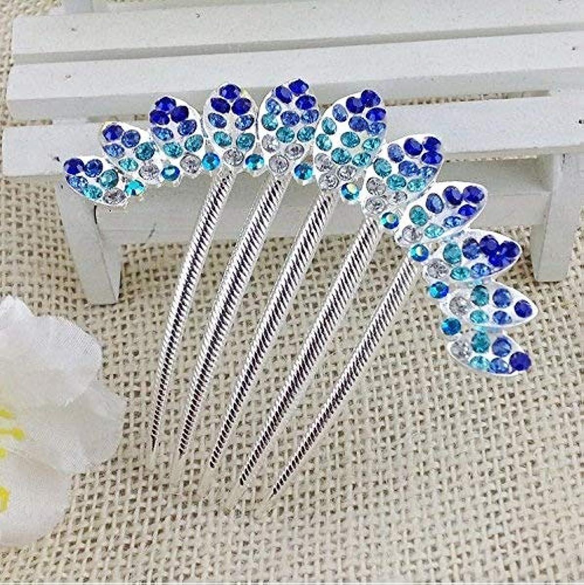 ゲートウェイゆるいおしゃれなHPYOD HOME 花柄の合金ラインストーンバレットヘアクリップくし(ブルー)