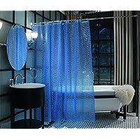 Adwaita シャワーカーテン バスカーテン 浴室 防水 防カビ カーテンリング付属 3Dスタイル水の模様 お風呂カーテン 180×180cm ブルー