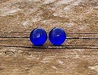 Recycled Vintage Cobalt Noxzema Jar Simple Post Earrings [並行輸入品]