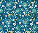 rrsou 生地 布 おしゃれ な インテリア レトロ 鹿 テーブルクロス ハンドメイド (1m, ブルー)