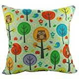 """Best Luxbon枕 - Luxbonコットンリネン正方形装飾スロー枕カバークッションカバーOwls with Trees 18"""" x18"""" Review"""