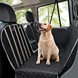 Dog Car Seat Covers, Pet Back Seat Cover with Mesh Viewing Window/Side Flaps, Heavy Duty Travel Hammock Bench Convertible Backseat, Non Slip Seat Protector for Cars Trucks & SUVs, 145 x 136 cm Black