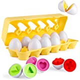 Coogam Matching Eggs 12 pcs Set Color & Shape Recoginition Sorter Puzzle for Easter Travel Bingo Game Early Learning Educatio