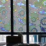 ガラスシート イルカ 目隠しガラスフィルム 目隠しシート 窓ガラス 目隠し装飾 装飾再利用可能 45*150cm