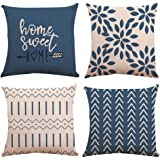 YC-KITCHEN Pillow Covers 18x18 Set of 4, Modern Sofa Throw Pillow Cover, Decorative Outdoor Linen Fabric Pillow Case for Couc