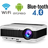 Wireless Bluetooth LED Home Movie Projector LCD Wifi Smart HD Support 1080P Airplay with 2 HDMI 2 USB VGA AV Audio Zoom for i