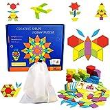 155個の木製パターンブロックセット、幾何学的スタッキングソートジグソーパズルゲーム、幼稚園早期教育学習玩具 IQチャレンジおもちゃ 幼児向けギフト