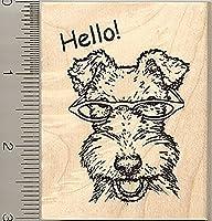 White Fox Terrier Dog Rubber Stamp, Wearing Glasses, Hello