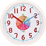 "TXL Kids Wall Clock Baby Nursery Large 12"" Wall Clock in Kid's Room Clock Bedroom Silent Non Ticking Analog Quartz Home Color"