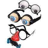【ec-drive】3セット おもしろメガネ クレイジーアイズ ガチャガチャメガネ お笑い芸人 目玉メガネ
