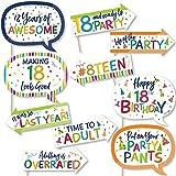 Big Dot of Happiness 楽しい 18歳の誕生日 陽気な誕生日 カラフルな8歳の誕生日パーティー フォトブース小道具キット 10ピース