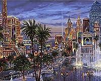 Wowdecor DIY 数字油絵40×50cm - パリ・シティ・エッフェル塔の夜景 - ぬりえ 塗り絵 絵画 趣味 インテリア(フレームレス)