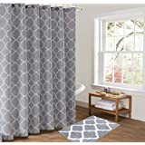 "Pauwer Bath Rug and Shower Curtain Set, Microfiber Non Slip Bathroom Rug 21""×34"", Geometric Fabric Shower Curtain 72""×72"" Gre"