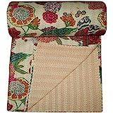 V Vedant Designs Indian Cotton Kantha Quilt Throw Blanket Bedspread Vintage Throw Gudari Cotton Handmade Kantha Quilt (Beige