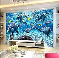 Weaeo カスタム3D写真の壁紙水中の世界イルカの魚の子供の部屋のベッドルームリビングルームテレビの壁壁の壁紙-200X140Cm