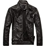 Macondoo Men's Fleece Faux-Leather Slim Fit Zip-Up Moto Outwear Coat Jacket