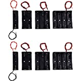 LAMPVPATH (Pack of 8) AA Battery Holder Bundle 2Pcs Single AA Battery Holder, 2Pcs 2X 1.5V AA Battery Holder with Leads, 2Pcs