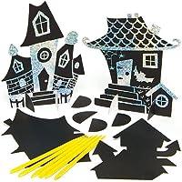Halloween ハロウィーン おばけ屋敷 スクラッチアート シルバー&ゴールド(8枚入り)削るだけ簡単 ラメ キラキラ メタリック 金 銀 シート ディスプレイ 子どもたちの工作に スタンド付き