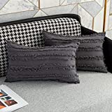 HMKEY TOYS Decorative Throw Pillow Cover Cushion Cover Bohemian Pillow Case for Home Sofa Couch Bedroom Living Room, Grey, 12 x 20 Inch