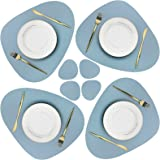 Olrla PU Leather Placemats and Coasters Set, 4 Placemats 17.7''x15'' and 4 Coasters 5.1''x 4'', Non-Slip Waterproof Dining Co