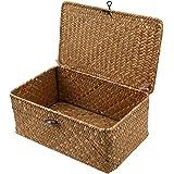 Cabilock 3pcs Handwoven Rattan Storage Wicker Basket Shelf Baskets Seagrass Storage Box with Lid Desktop Makeup Organizer Con