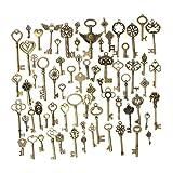 KING DO WAY 金古美 キー ペンダント レトロ 鍵 チャーム 飾り 手作り ネックレス 69個セット 母の日ギフト