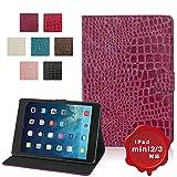 MS factory iPad mini3 / mini2 Retina クロコダイル 手帳型 PU レザー ケース カバー スタンド mini 2 3 PUレザー カバーケース 全7色 ピンク パープル mR-croco-PP