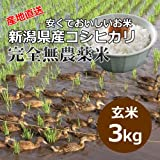 【自宅用】[玄米]安くておいしいお米 新潟県岩船産コシヒカリ 完全無農薬米[3キロ]