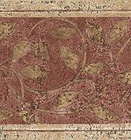"""抽象的なダマスコベージュバインズレッドヴィンテージ壁紙ボーダーレトロデザインロール15 'x 7 """""""