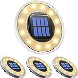 pendoo ソーラーライト 屋外 埋め込み式 水陸両用 ガーデンライト 4個セット IP68防水 太陽光パネル充電 防犯対策 光センサー 12LED 高輝度 自動点灯/消灯 玄関先/庭/芝生/車道/歩道 (電球色)
