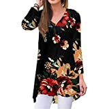 YAKER Women's Floral Fall Long Sleeve V-Neck T-Shirt Sleepwear Tunic Tops Blouse Shirts