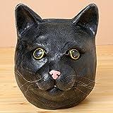 ネコ ねこ 動物 顔 マスク パーティーマスク 仮装 変装 お面 かぶりもの お祭り グッズ ヒゲや毛並み、色合いなど細部にまでこだわり おもしろい 楽しい キャットマスク ブラック