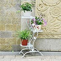 フラワースタンドフラワーラック花台植物棚 金属フロアスタンドポットラックガーデンパティオスタンディングアイアン多層ポット植物スタンド植物フラワーポットラックディスプレイスタンド (色 : 白, サイズ : 3-layer)
