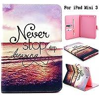 iPad Mini 1/ 2/ 3ケース, Newshine (TM) かわいいフリップつ折りスマートスタンドカバー/スキン[自動ウェイク/スリープ機能] [カードスロット/Cashパケット] [ホルダー付きスタイラス] for Apple iPad Mini 123