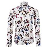 APTRO(アプトロ) メンズ シャツ ワイシャツ 長袖 ブロード 春シャツ 秋 フロラル コットン スリム 兄貴系 上質仕様 大きい花柄 チョイワル系 アメカジ