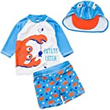 Baby Toddler Boys Two Pieces Swimsuit Set Swimwear Crab Bathing Suit Rash Guards with Hat UPF 50+