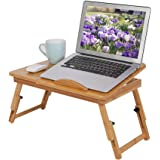 Bamboo Laptop Stand Desk, Lap Standing for Bed and Sofa Cozy Portable Adjustable Laptop Table Drawer Cup Holder Serving Tray