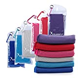 Syourself瞬冷スポーツアイスタオル-- 100 cm x 30 cm、温度を下げ、汗を取り、瞬間に涼しくなるフィットネス、運動、ボーリング、ゴルフ、ヨガ、旅行のスポーツタオル、それと同時に温度を下げるスカーフ、マフラー、ハンカチとして使える+密封防水袋とカ ラビナ (赤, JRed)