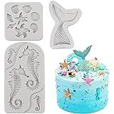 SAKOLLA Mermaid Theme Cake Fondant Mold - Seahorse Seashell Starfish Mermaid Tail Silicone Mold for Under The Sea Cake Decora