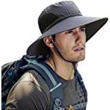 ZIQIAN Mens Sun Hat Summer Unisex Sun UV Protection Bucket Hat Outdoor Waterproof Wide Brim Hat with Breathable Mesh and Chin