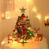 Asdomo 18 Inch Mini Christmas Tree with Ornaments, Tabletop Artificial Holiday Tree Decor with LED Lights Battery Operated, B