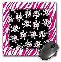 3drose LLC 8x 8x 0.25インチマウスパッド、かわいいブラックSkulls with Bows onピンクZebra ( MP _ 61793_ 1)