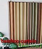 竹カーテン リゾート空間を演出する 竹製カーテン マルチストライプ柄  (幅100cm×丈135cm) 2枚組み