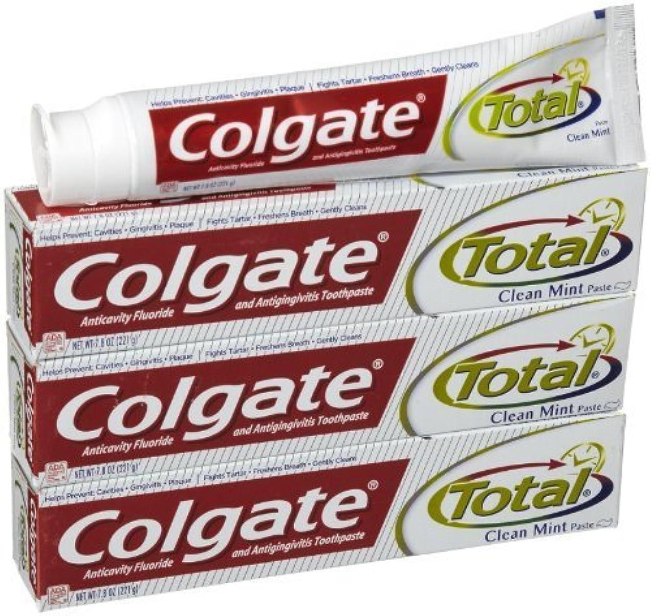 スナックエイリアスかなりのコルゲート クリーンミント 歯磨き粉 7.8OZ-3個 Colgate Total Original Toothpast Clean mint