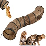 FantasyRe 猫 おもちゃ キャットトンネル キャットトイ猫 トンネル ネコトンネル ペット玩具 猫おもちゃ 折りたたみ可能 水洗い可能 S型 2穴付きキャットトンネル 長いトンネル 猫遊び ペットおもちゃ ペット用品 ブラウン