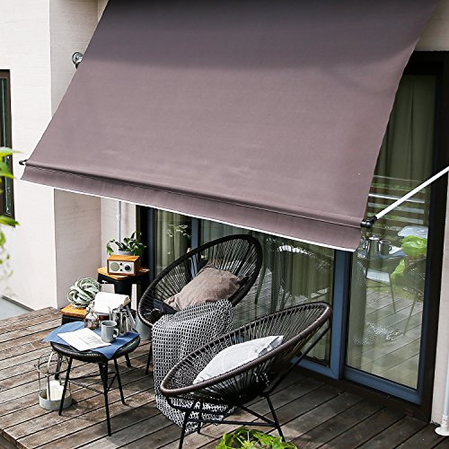 LOWYA (ロウヤ) 日よけ オーニング 紫外線99.8%カット 日除け シェード スクリーン 撥水 高さ調節 幅2m ブラウン