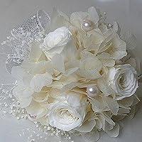 1024【プリザーブド】【コサージュ】白いアジサイ&ミニローズ白